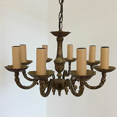 French Antique Style 8 Arm Decorative Brass Chandelier 2
