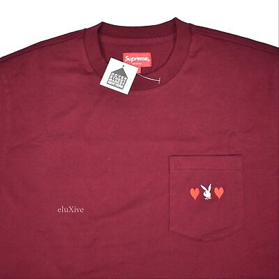 Details about  /NWT Supreme Playboy Men/'s Burgundy Red Bunny Logo Pocket T-Shirt FW18 AUTHENTIC