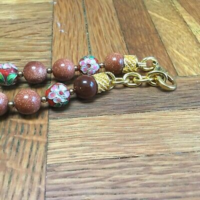Old China Export Genuine Gold Sand Stone & Cloisonné Enamel Bead Necklace 3