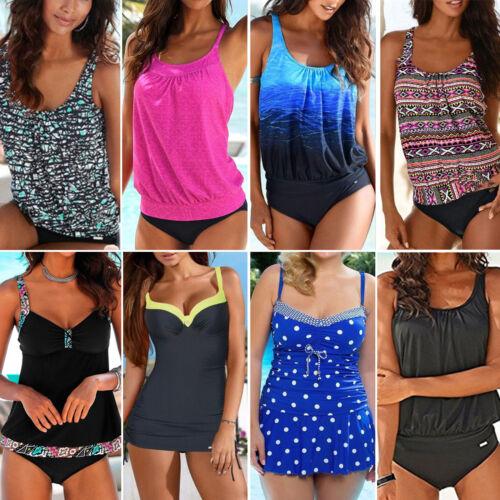 Bademode Damen Zweiteilig Tankini Set Bikinihose Short Gepunktet Badeanzug 34-44