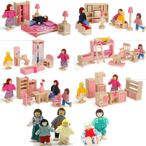 Kids Miniature Dollhouse Furniture Set Wooden House Family Pretend Play Toy Doll 4