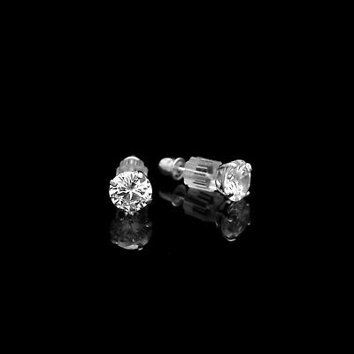 1ct Round Cut Created Diamond Earrings 14K White Gold Solitaire Screwback Studs 5