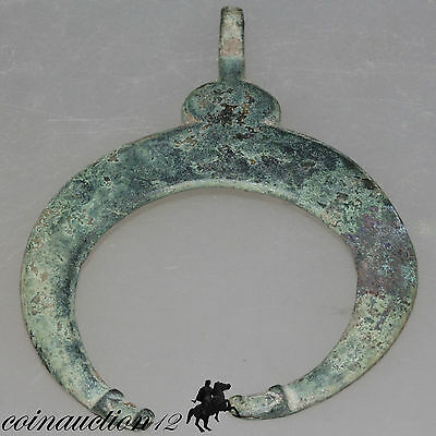 Scarce Massive Roman Or Viking Penannular Crescent Bronze Pendant With Dogs Head 2