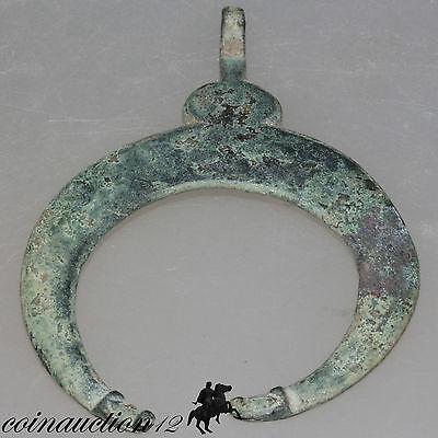 Scarce Massive Roman Or Viking Penannular Crescent Bronze Pendant With Dogs Head 2
