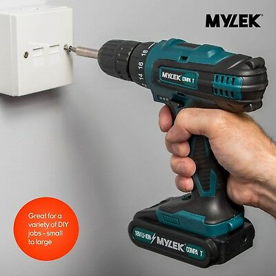 Mylek 18V Cordless Drill Driver Set Combi Lithium Ion Screwdriver LED Worklight 6
