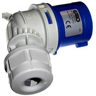 16A 3 Pin Angled Plug 1 Phase IP44 Caravan Camping 2P+E 230V Garo 16 Amp Blue 4