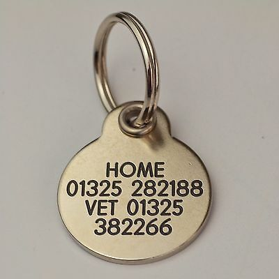 Deluxe ENGRAVED tags for Pets Brass or Nicron 2 sizes 3