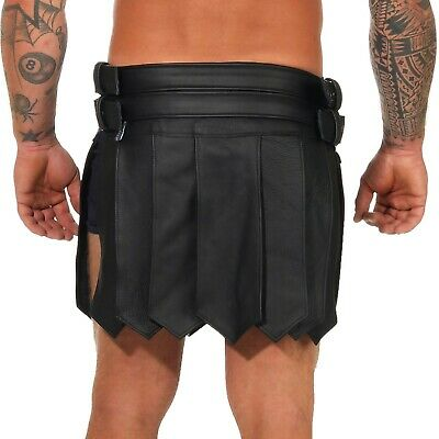 XS-XXXL*Gladiator Skirt Kilt Rock Schwarz Echt Leder 4 Schnallen & Gürtel NEU 3