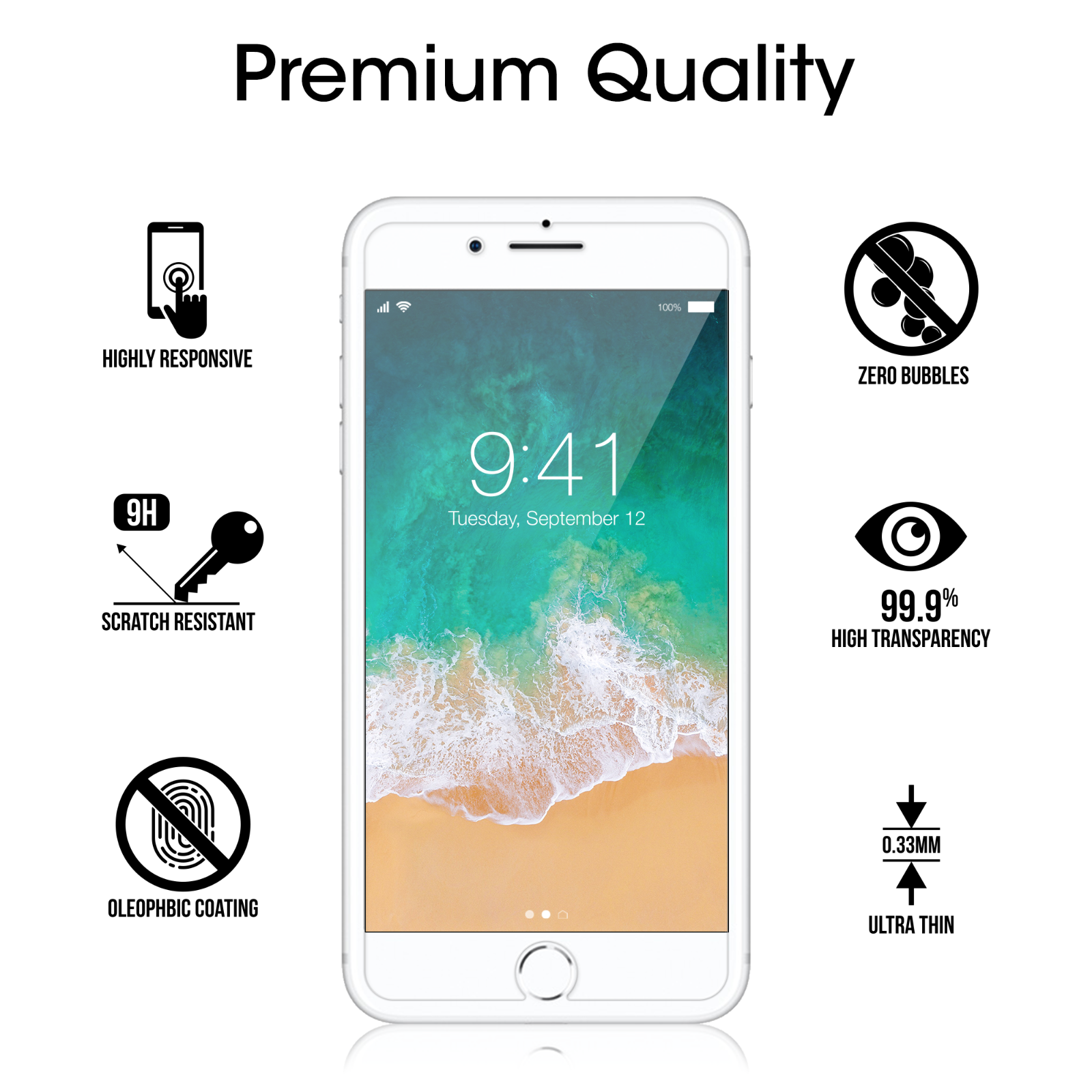 Premium Real amFilm Tempered Glass Screen Protector for iPhone 8/7/6S/6 (2 Pack) 4