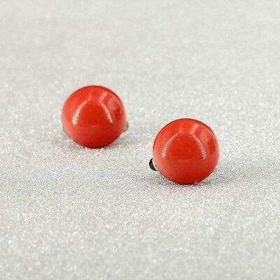 Boucles d'oreilles CLIP ON Argenté Demi Perle Rouge Orange Leger Retro J13 6