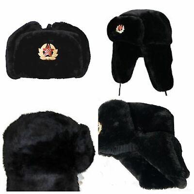 Russian Trapper Hat black With Soviet Badge Faux Fur Ushanka Cossack Flap Cap AU 4