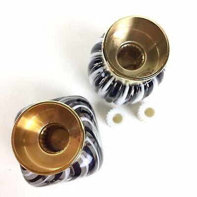 Vtg Italian Murano Glass Shower Sink Vanity Faucet Knobs Decorative Black White 8