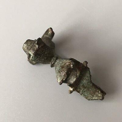 SCARCE Ancient Roman Bronze Two-Lion Fibula / Brooch C. 2nd - 3rd Century A.D. 10