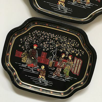 ELITE METAL TRAYS Asian Scene Made in England 7x6 Set of 2 Black Gold Red Tip 3
