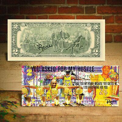KOBE BRYANT 5-Time Championship Pop-Art Genuine $2 Bill - HAND-SIGNED by Rency 3