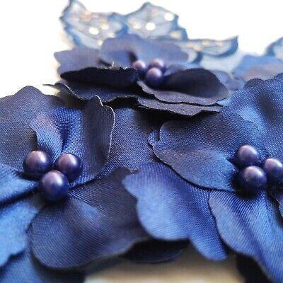 3D Navy Sequined Floral Embroidery Applique Motif Lace Trim EB0394 4