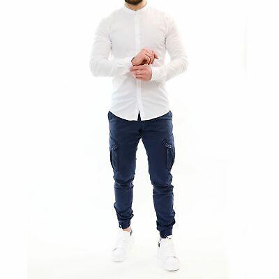 Camicia Uomo Collo Coreana Slim Fit Serafino Bianca Cotone Casual Elegante