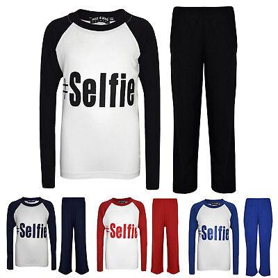 "Kids Boys Girls PJ's "" #SELFIE "" Printed Stylish Pyjamas New Age 5-13 Years 4"