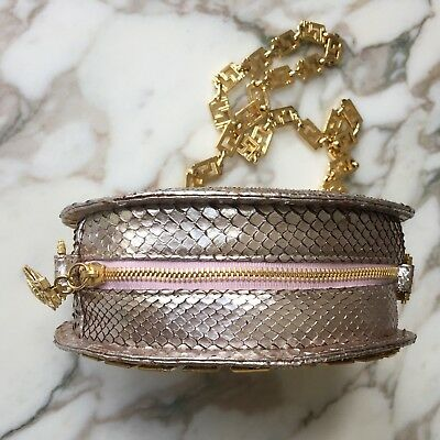 8f4d522f25e6 ... GIANNI VERSACE COUTURE metallic pink snakeskin round evening bag w   chain Medusa 6