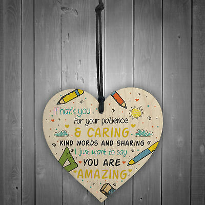 Gift For Teacher And Assistant Wooden Heart Nursery Thank You Gifts Leaving Gift 2