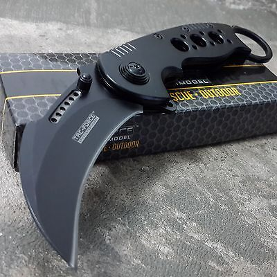 BLACK KARAMBIT SPRING POCKET KNIFE Tactical Open Folding Claw Assisted Blade EDC 2
