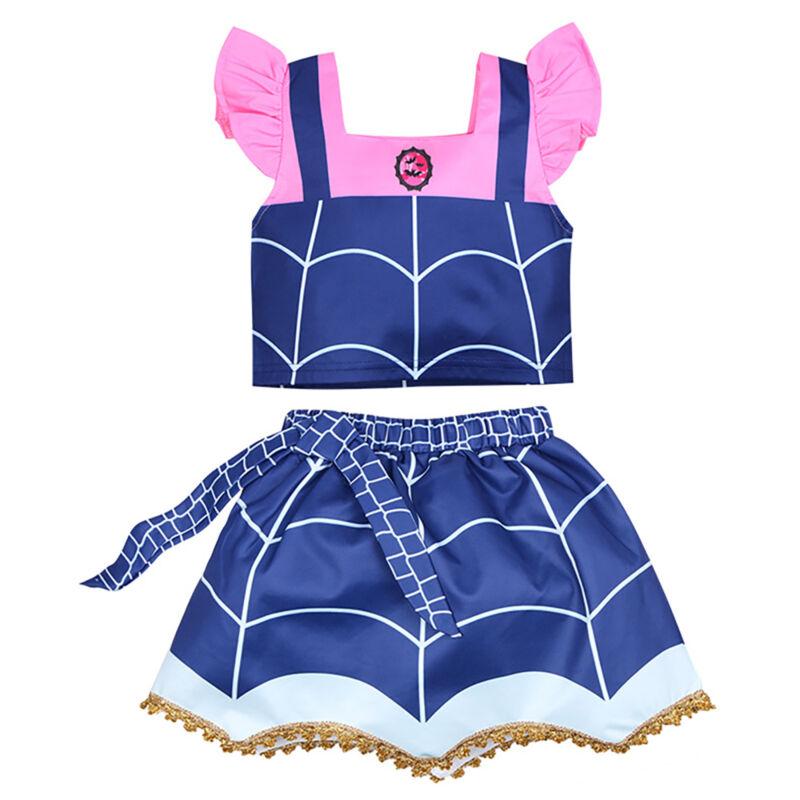 19a8e4d79 Kids Girl Vampirina Dress Wing Headwear Party Fancy Dress Cosplay Costume  Set 5 5 of 8 See More