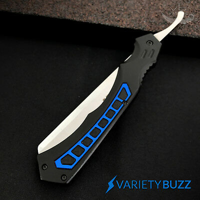 MTECH BLUE Straight Blade Barber Razor Folding Pocket Knife Shaving Cut Throat 4