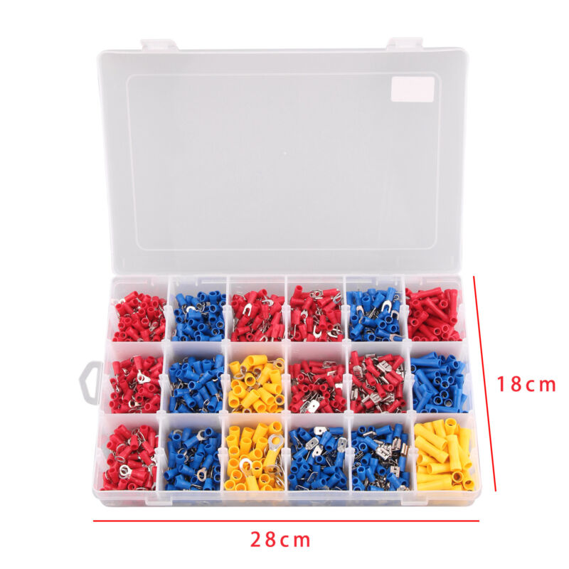 1200x Assorted Insulated Electrical Wire Terminal Crimp Connector Spade Set Kit 2