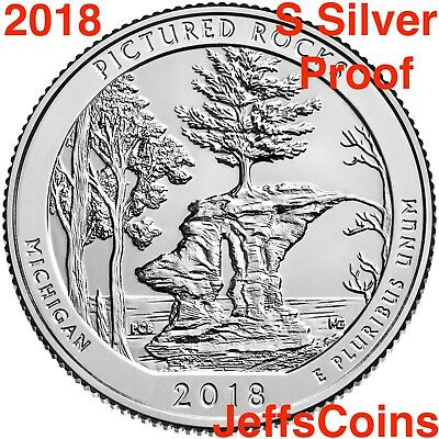 2018 S REVERSE Pictured Rocks Lakeshore 90% Silver Proof Park Quarter Michigan 2