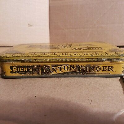 Vintage Old Advertising Tin Rich's Crystallized Canton Ginger EC Rich NY. 2