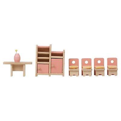 Children Wooden Doll House Furniture Sets Bathroom Bedroom Living Room Gift Toy
