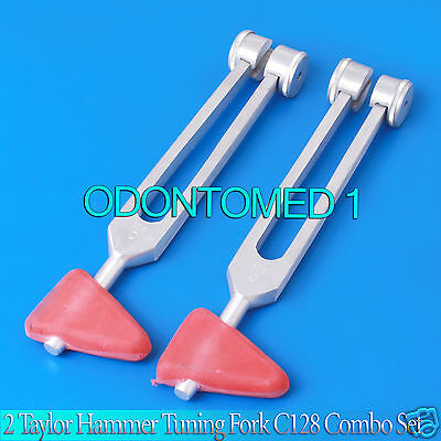 NEW 2 PREMIUM GRADE 2 in 1 TAYLOR HAMMER C128 TUNING FORK Combo SET
