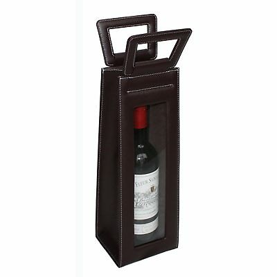 Leather Red Wine carrier bag brown Gift Bags for single bottle 2