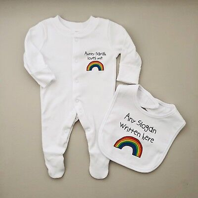 PERSONALISED Unisex baby clothing RAINBOW babygrow /& bib baby  BABY SHOWER gift
