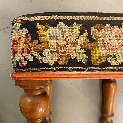 🌟Shabby Antique Wooden Square Tapestry Top Stool Seat Chair 3