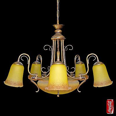 Antique French Degué Style Art Deco/Nouveau Yellow Large Art-Glass Chandelier 4