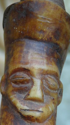 Antique 18C African Fang Tribal Ritual 2 Faces Smocking Pipe