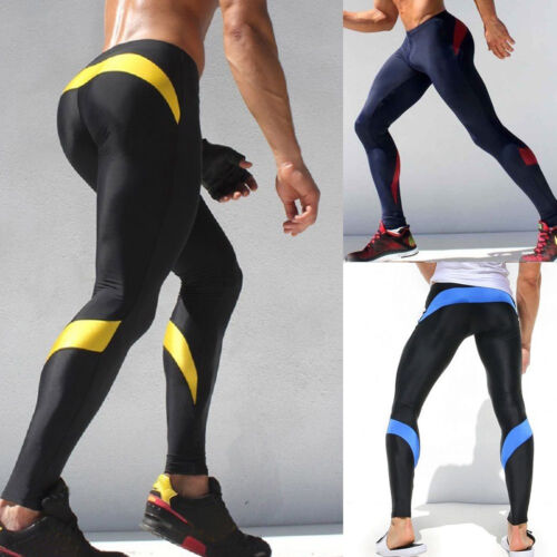 Men Gym Fitness Leggings Compression Base Layer Sports Workout Skin Tight Pants 4 4 of 12 ...