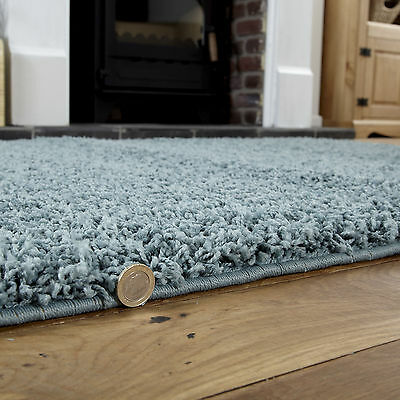 Duck Egg Blue Small X Extra Large Modern Rug - Thick 5Cm High Pile Shaggy Rugs 3