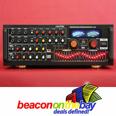 ASHTEC 1200w Bluetooth Mixer Amplifier Speakers Cordless Microphone Karaoke DJ 2