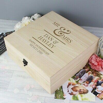 Personalised Wooden Mr & Mrs Large Keepsake Box Wedding Anniversary Valentine's 2