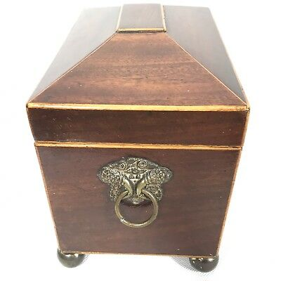 Antique Regency Mahogany Satinwood Inlaid Brass Mounted Two Section Tea Caddy 7