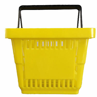 2 Handle Yellow Plastic Shopping Basket Retail Supermarket Use Hand Carry 3