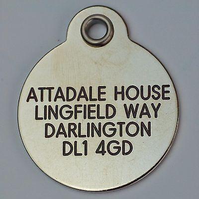 Deluxe gravé étiquettes pour animaux Laiton ou Argent métallique 2 tailles 5