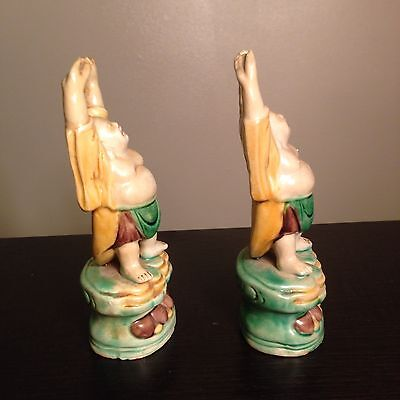 PAIR Fine Old Chinese Ceramic Glazed Buddhas Raised Hands Robed Standing Statues 9