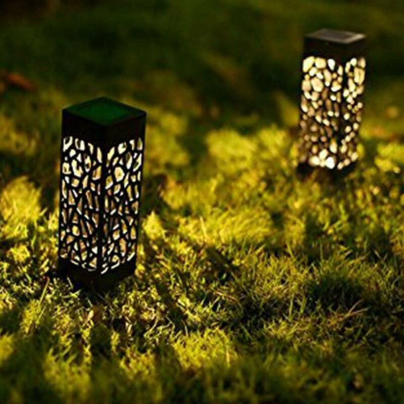 Solar 4 pcsPowered Garden Post Lights Waterproof LED Outdoor Patio Yard Lawn 6