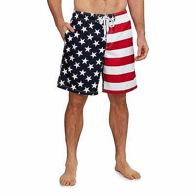 20c9653f1e ... Men's USA American Flag Stars Stripes Red White Blue Swim Trunk Board  Shorts 2