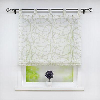 RAFFROLLO GARDINEN KÜCHE Raffgardinen mit Schlaufen Fenstergardine  Wohnzimmer