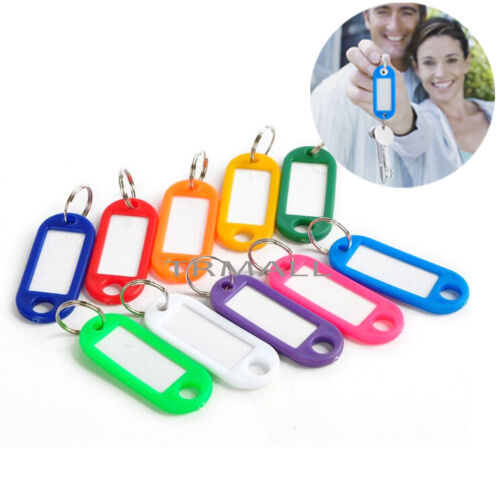 Lot of 100PCS Plastic Key Assorted Tags Rings ID Luggage Label Name Car Key ring 2