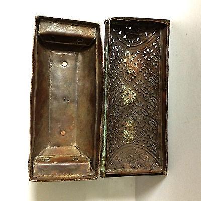 Antique Box Rare Tibetan Art Metal Geometric Pattern Figural Decorative Copper 8